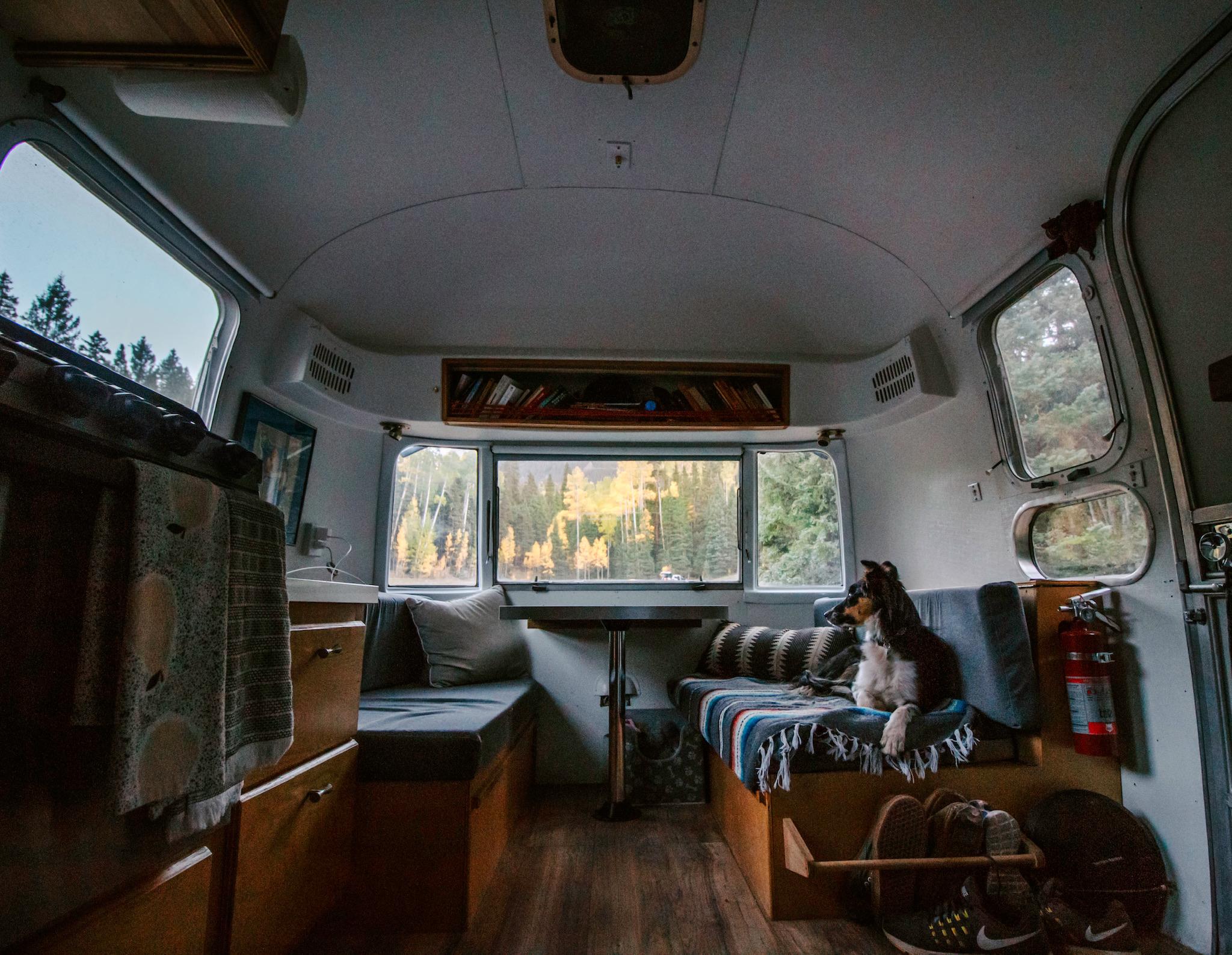 Airstream interior dinette fall